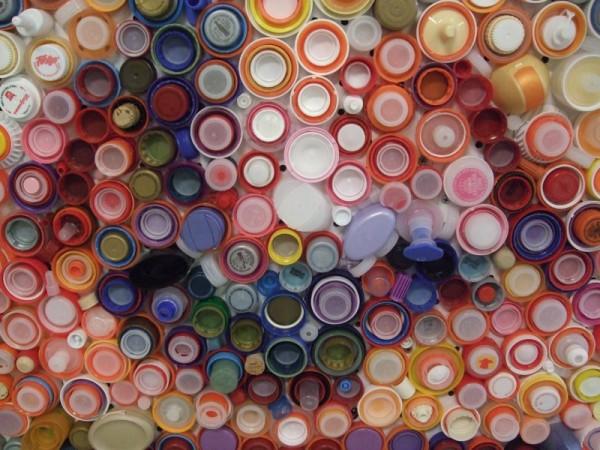 Nested Plastic Bottle Caps Give Mosaic Rich Color Palette