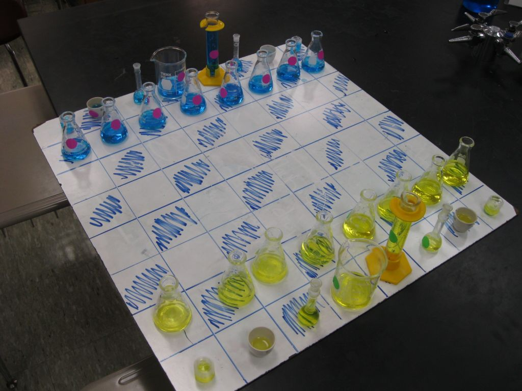 Chess Board Made from Chemistry Glassware