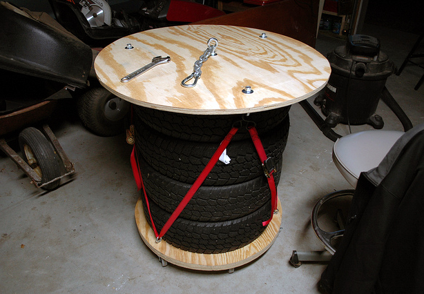 Rolling Tool Table from Stacked Tires