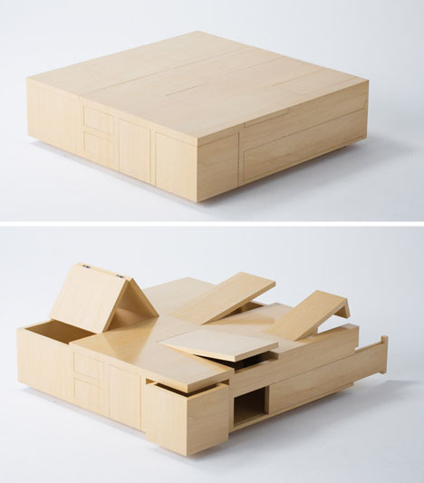 Plywood Table is All Secret Compartment