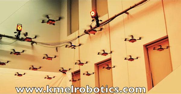 Synchronized Nano-Quadrotor Swarm