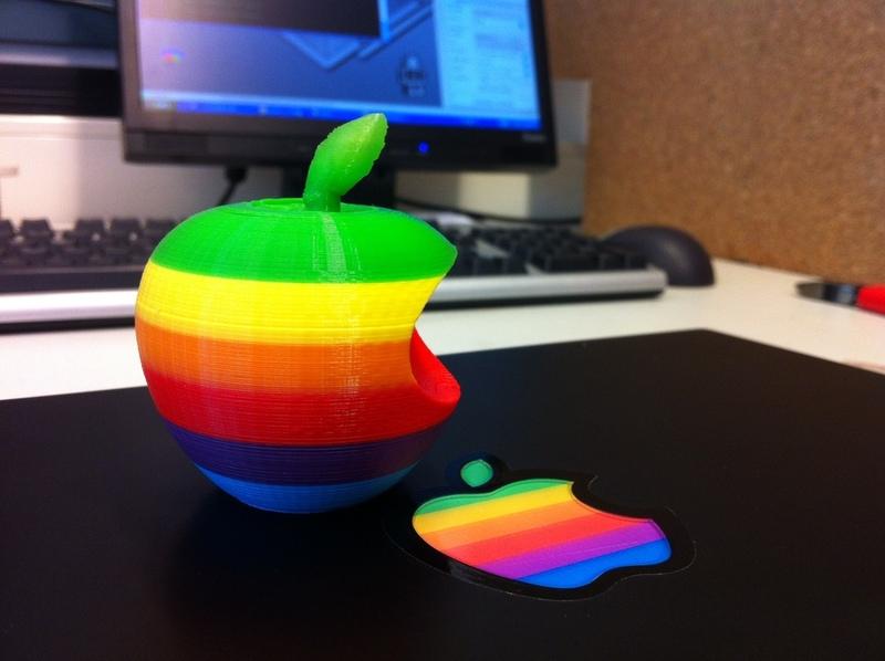 Rainbow Fused-Filament 3D Apple Logo