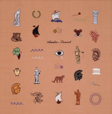 Elaine Reichek's Embroidered Greek Mythology at The Whitney Biennial