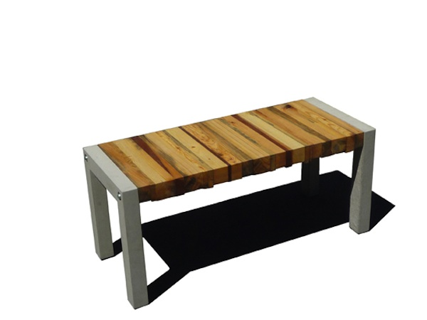 Bench Made from Upcycled Wood and Concrete
