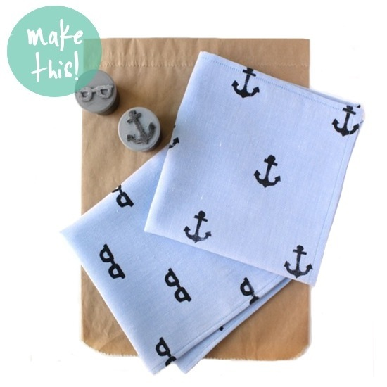 Handstamped Handkerchief for Father's Day