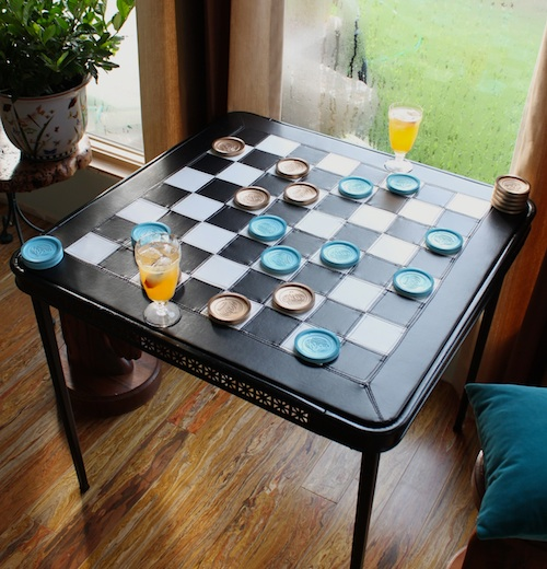 DIY Upholstered Checkerboard Card Table