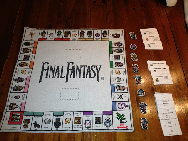 Cross-Stitched Final Fantasy III Monopoly Board