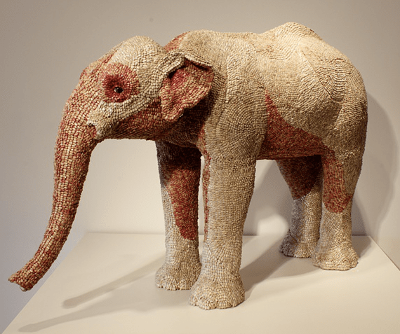 Sunflower Seed Covered Elephant Sculpture
