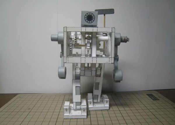 Papercraft Walking Bipedal Robot