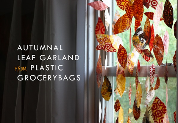 How-To: Plastic Bag Leaf Garland