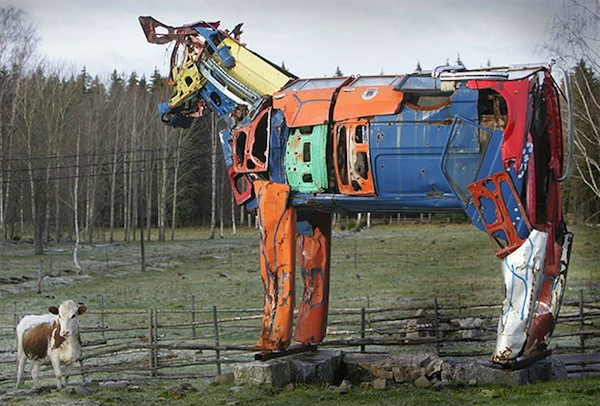 Cows Made From Recycled Car Parts