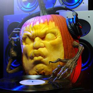 DJ Pump is a Carved Pumpkin Disc Jockey