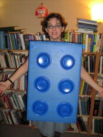 Our pal, epic word nerd Erin McKean, made [this](http://blog.makezine.com/craft/last_minute_lego_costume/) awesome (and awesomely quick) Lego brick costume.