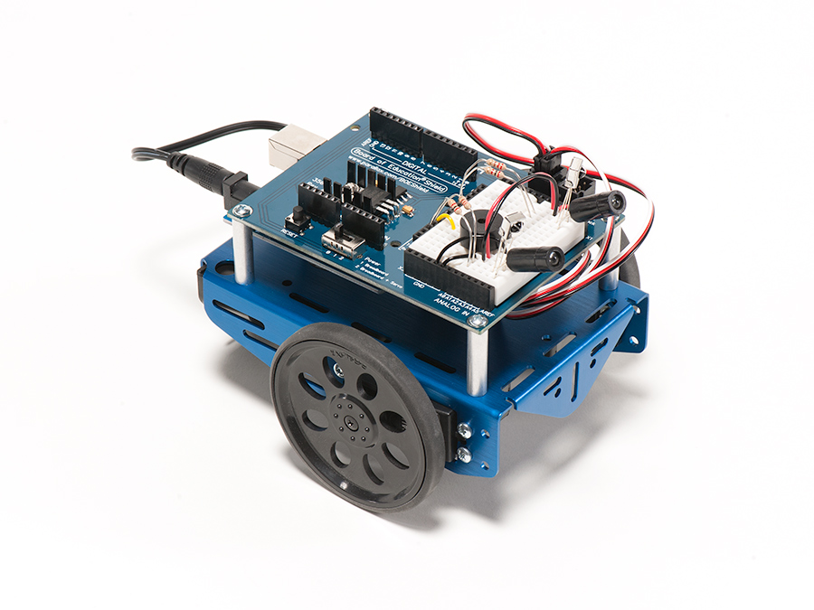 Maker Shed Exclusive: Arduino Shield Robot Kit – In MAKE Blue!