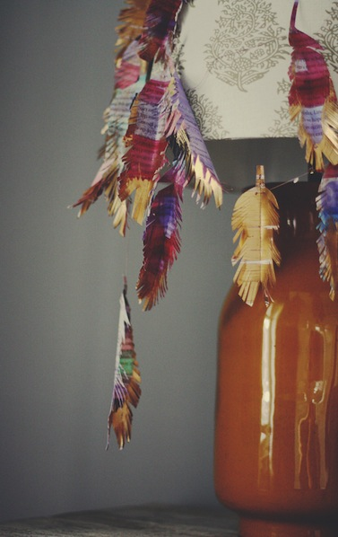 How-To: Paper Turkey Feather Garland