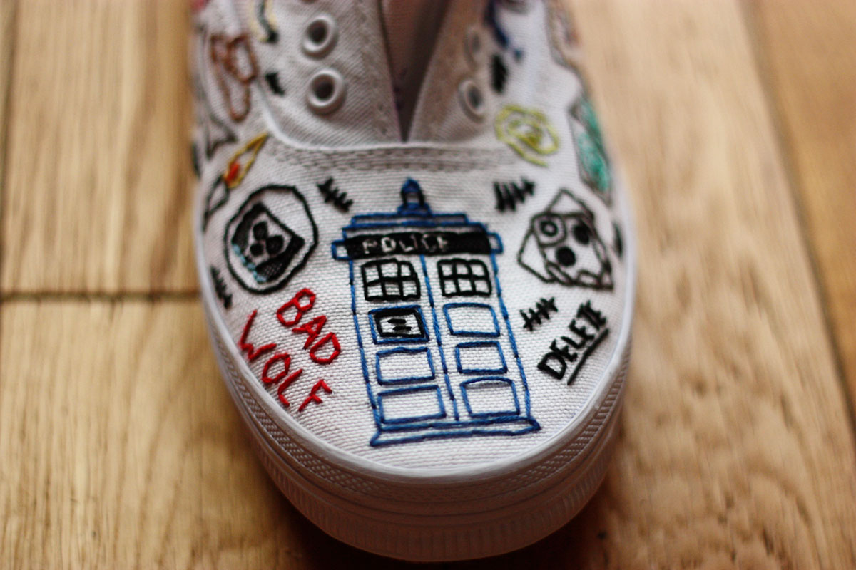 Hand Embroidered Doctor Who Shoes