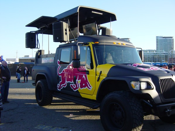 Red Bull really like cars that tun into music stages.