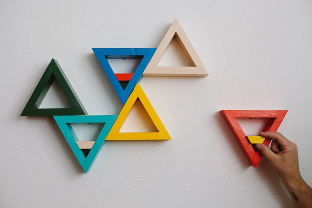 How-To: Colorful Triangle Shelves