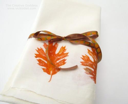 How-To: Hand-Printed Leaf Napkins