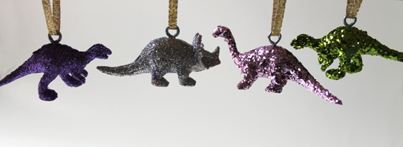 How-To: Glittered Dinosaur Ornaments