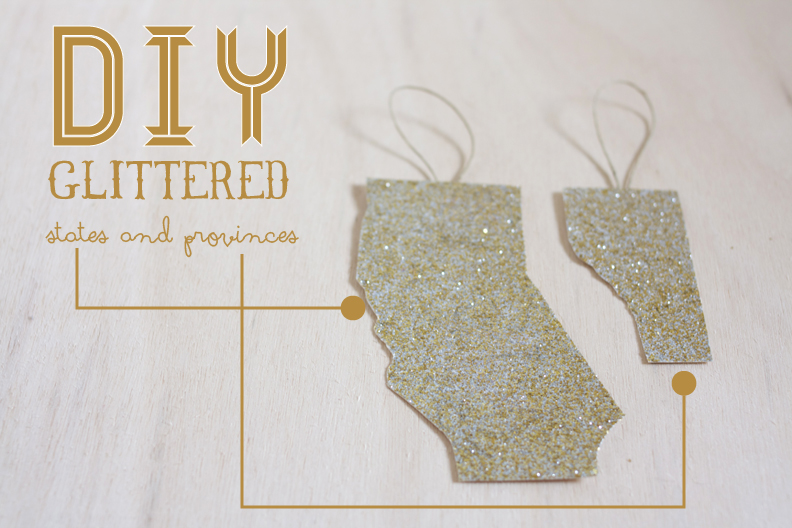 Glittered State and Province Decorations