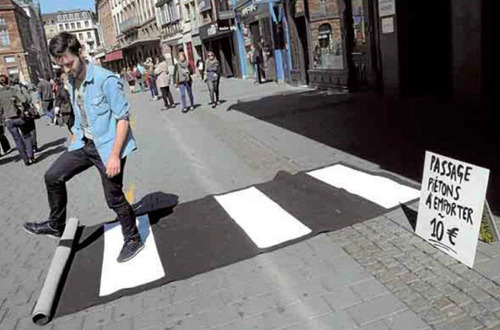 Pop-Up Crosswalk from Old Carpet
