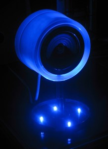 The blue LEDs in the speaker stand emit a fantastic glow at night.