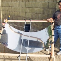HOW TO FAKE A PARABOLA: Backyard solar catenary reflector (SCR) cooker built in 20 minutes using sheet steel and wood.