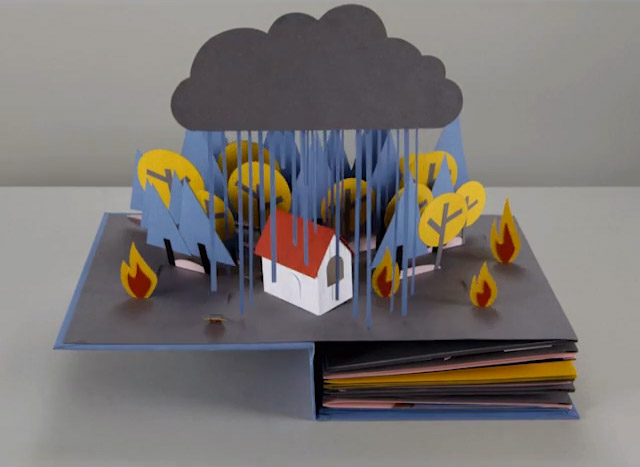 Paper Craft Animation of a Water Cycle