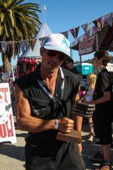 Joshua Twaites with his awesome handmade trophy.