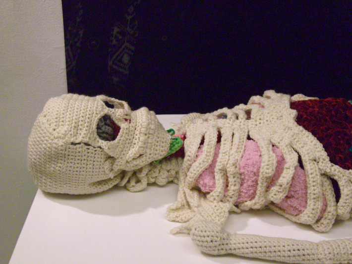 Crocheted Skeleton Sculpture With Organs