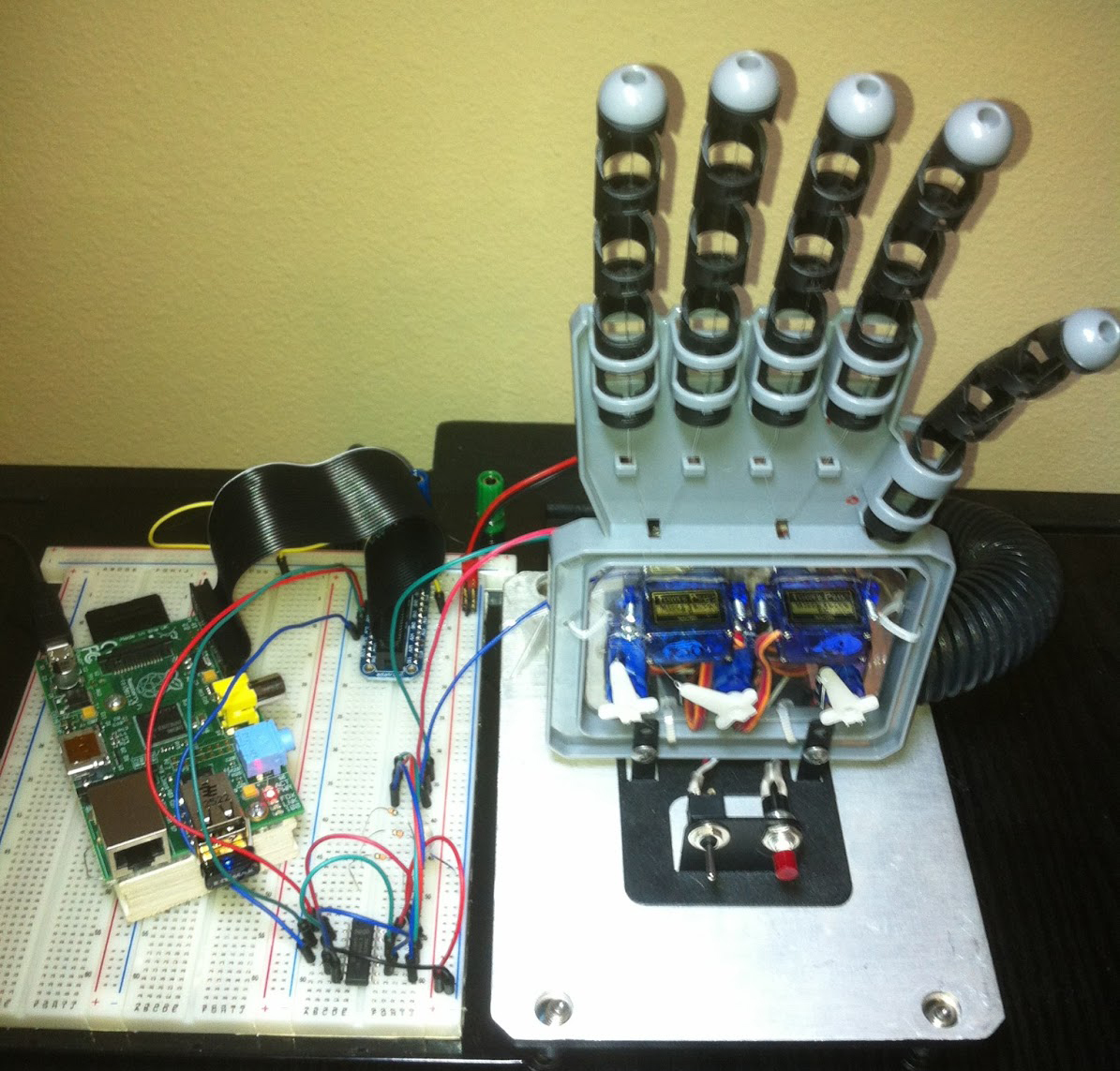 Twitter Controlled RPi Robot Hand