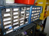 Friends of electrical engineers for many decades, component drawers are ideal for storing tiny electronic parts. They're also easily removable if you need to go rooting around.