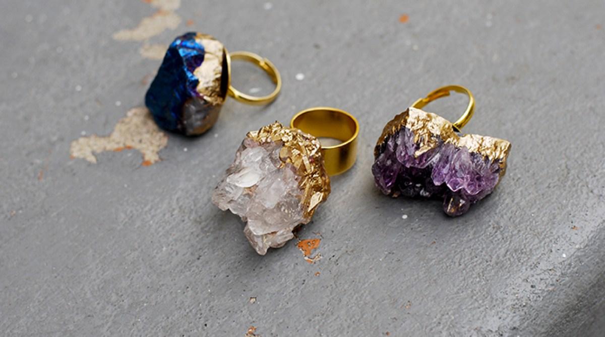 Gilded Geode Ring