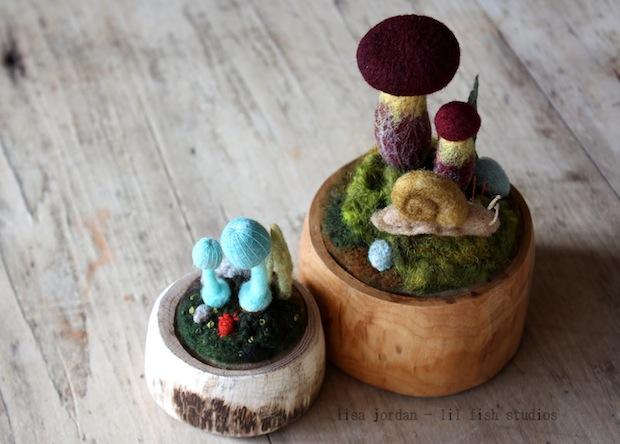 Felted Mushroom Terrariums