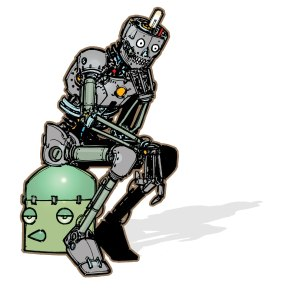 "illustration of a humanoid robot mimicking the stance of Rodin's sculpture ""the thinker"""