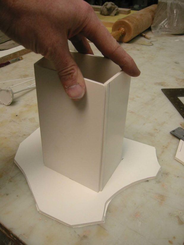 Fig. F: The mold box, ready for sealing with hot glue.