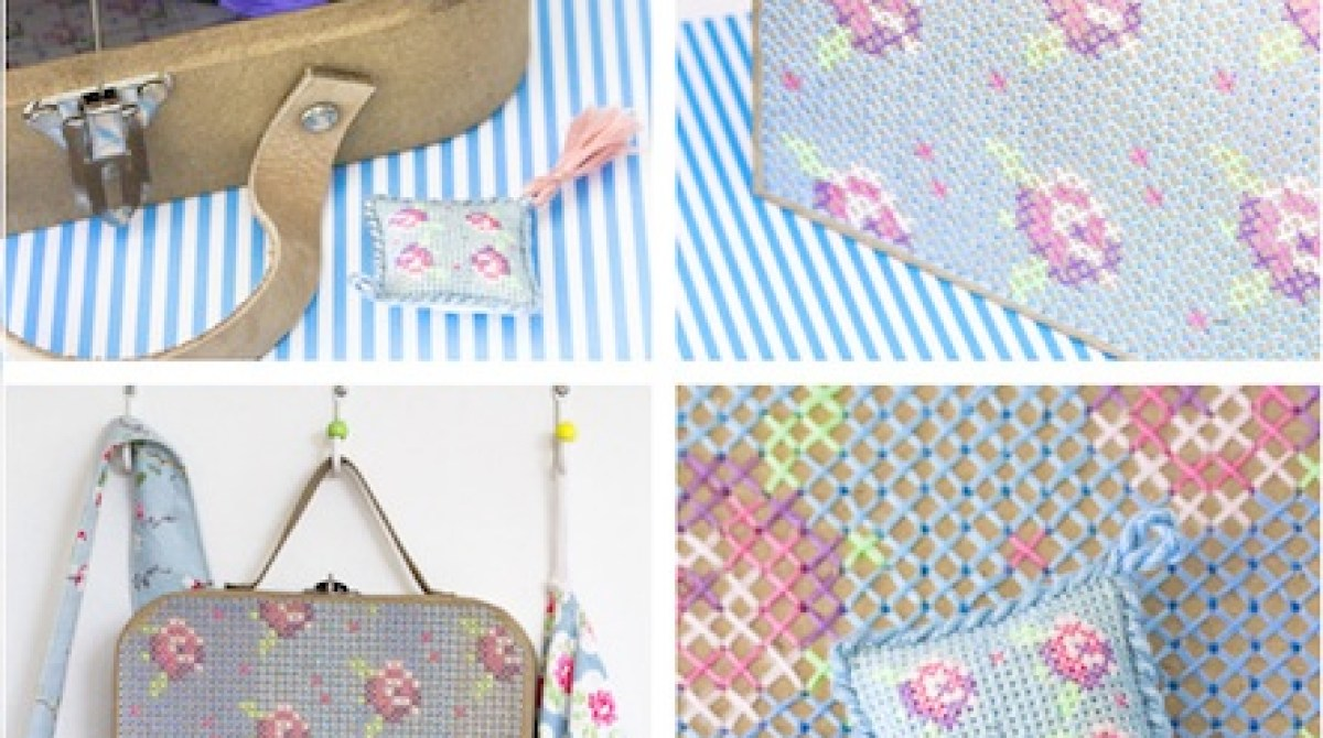 How-To: Cross-Stitch Papier-mâché Suitcase