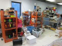 Still in progress, the store if full of donated and found parts and supplies. Classic glass display counters are in the foreground, but you can't see in photo.