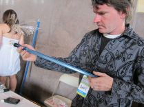Andy Graham's electric percussion instrument is made from steel strapping and a pickup. http://www.slaperoo.com/