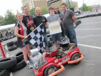 Sector67's Power Wheels racer won Sunday's enduro race. It has regenerative braking, a custom motor controller, and a frame made from a junk bedframe. http://www.sector67.org/blog/2012/fauxrarri/