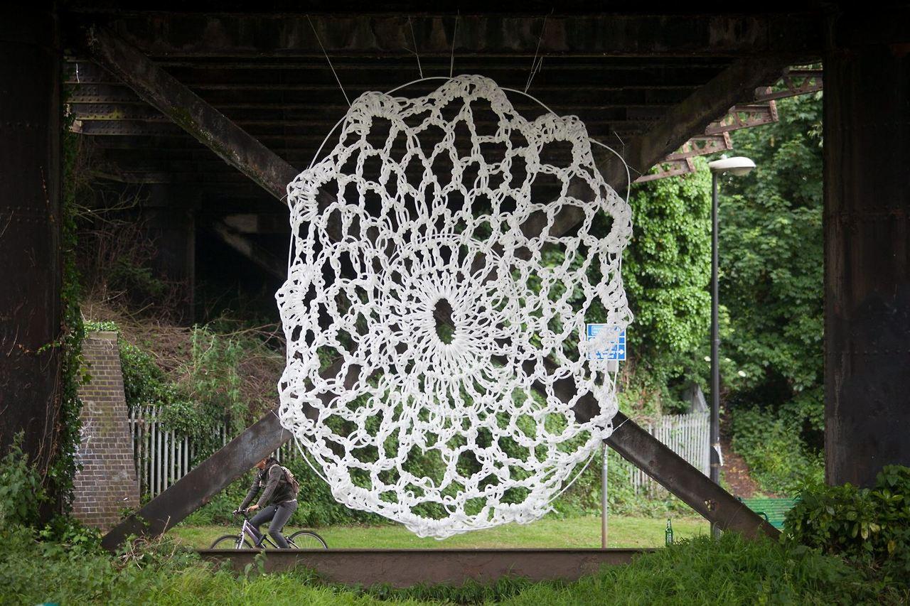 Mysterious Crocheted Yarn Bomb Under Bridge