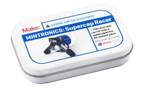 Supercap Racer Kit. $20A super way to start learning to solder with your dad this Father's Day. Buy two of these, race your dad to build the kit, and then race the kits with your dad all weekend. Easy to build, these make great gifts for novice makers and they're great fun to play with afterwards.--Alasdair Allan