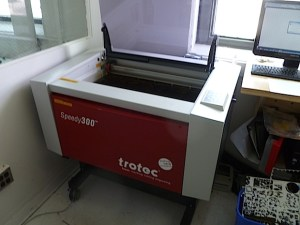 Their laser cutter on loan from Brooklyn gallery 319 Scholes.