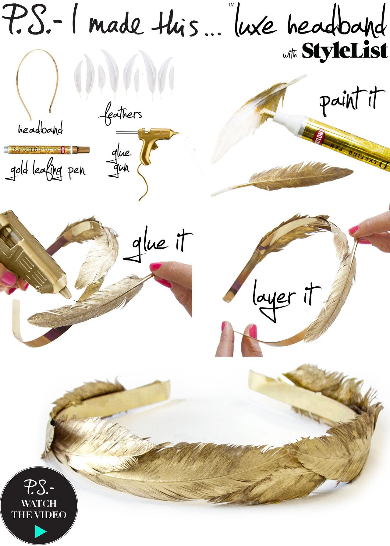 DIY Gold Feather Headband