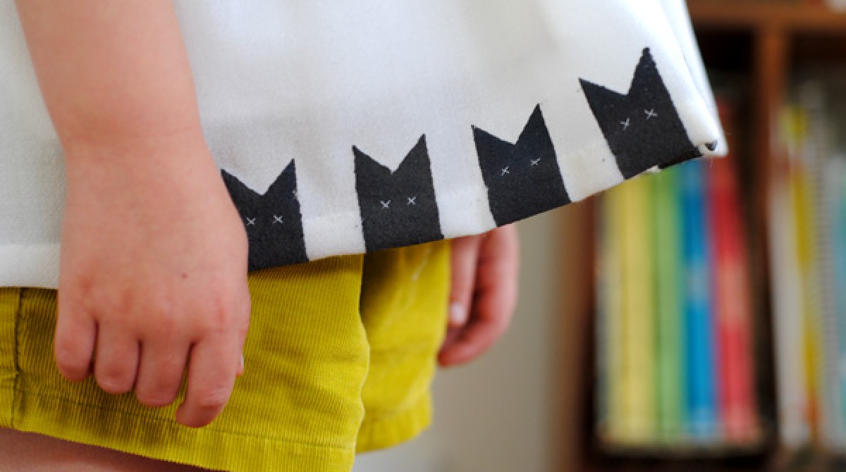 Refashion Inspiration: Upcycled Cat-Stamped Top