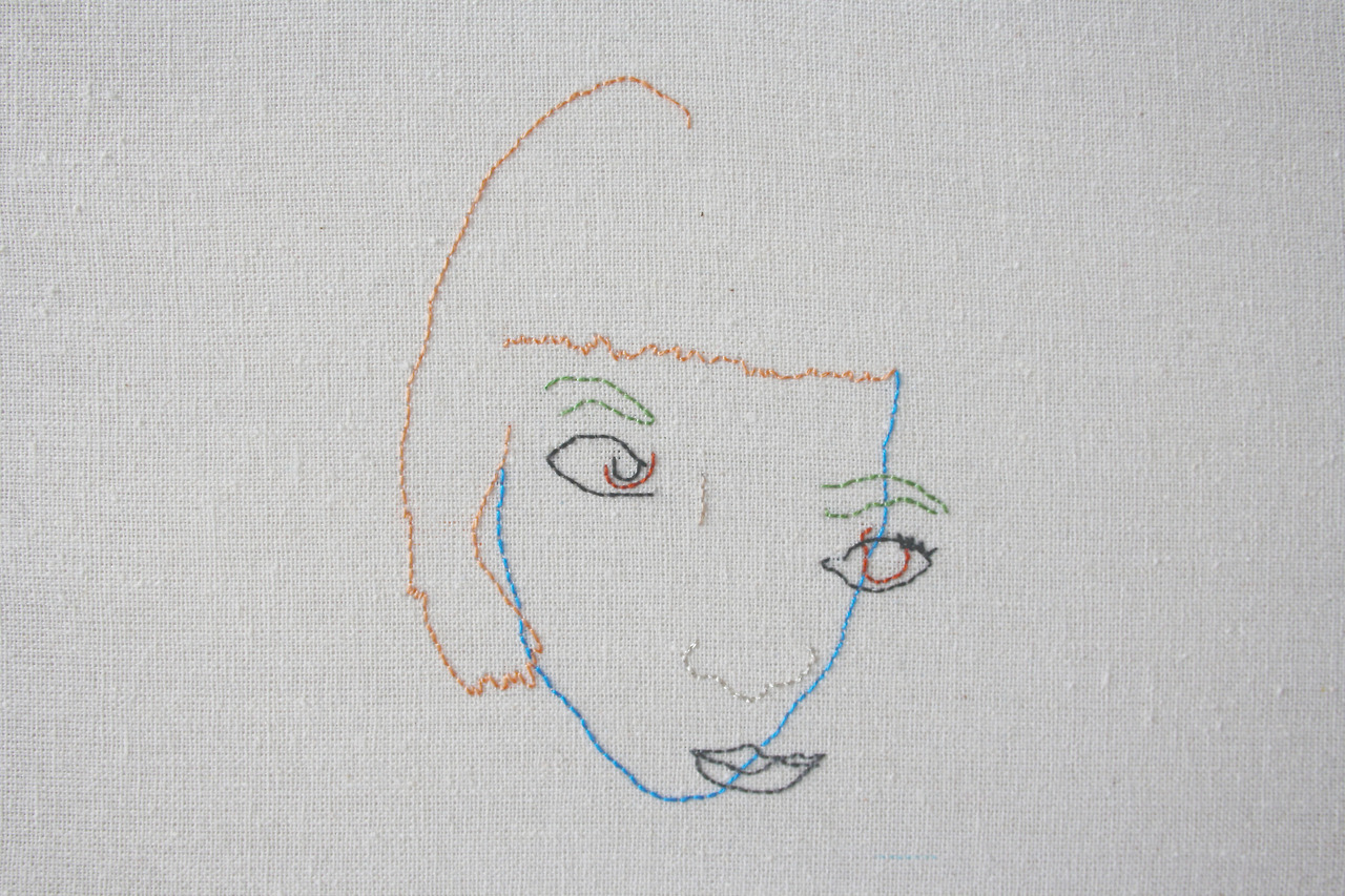 Embroidered Self Portrait Without Looking