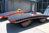 Two cars from Iowa State's solar race team.