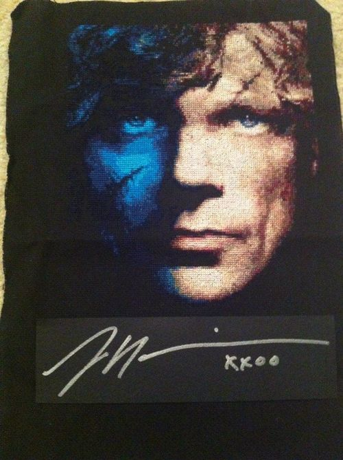 Autographed Peter Dinklage Cross Stitch