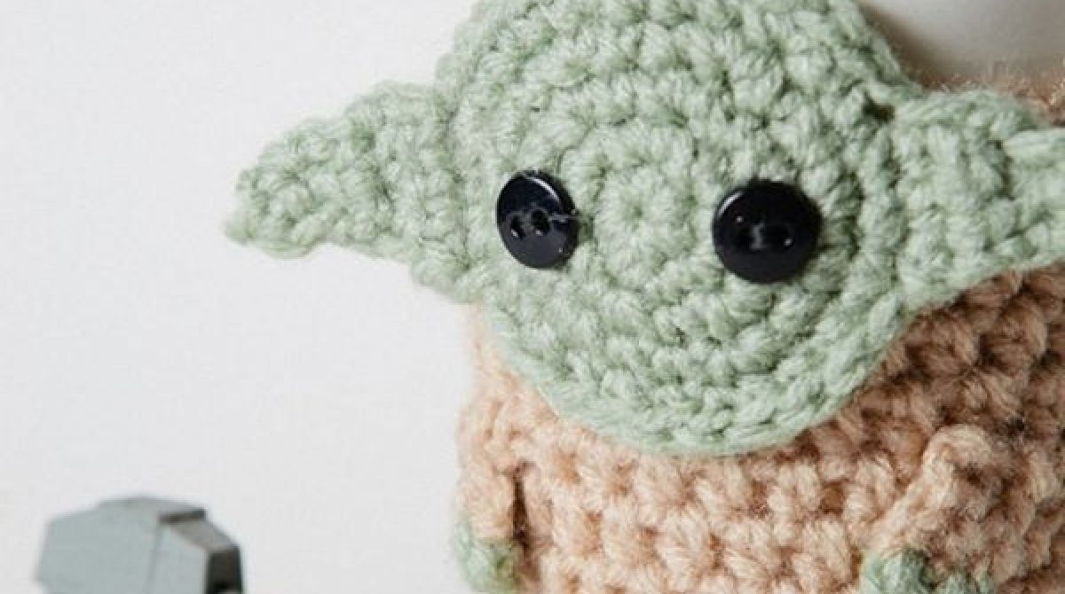 Crocheted Yoda Coffee Cup Cozy